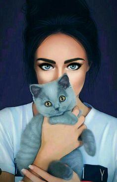 Girly_m IPhone 📱 Wallpaper Girly M, Beautiful Girl Drawing, Cute Girl Drawing, Beautiful Drawings, Art Anime Fille, Anime Art Girl, Cartoon Kunst, Cartoon Art, Cat Eyes Drawing