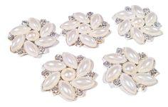 24mm flower pearl rhinestone metal flat back button
