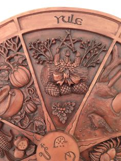 Our Wheel Of The Year plaque will surely help you honor the traditional holidays of the ancient Celts with this seasonal pictorial calendar. Rich symbolism in loving detail, this plaque represents eac Mabon, Samhain, Pagan Yule, Beltane, Yule Traditions, Winter Solstice Traditions, Vikings, Yule Decorations, Asatru