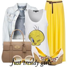 yellow tweety tee  Funny t-shirts with maxi skirts http://www.justtrendygirls.com/funny-t-shirts-with-maxi-skirts/