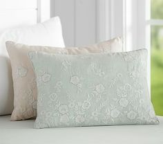 pottery barn & monique lhuillier embroidered pillow - blush pink. $59.