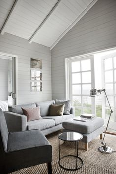 Interior crisp: Intelligent living: A cottage in Denmark Cottage Design, House Design, Small Living, Living Spaces, Living Room Grey, Grey Walls, Future House, Small Spaces, Outdoor Furniture Sets