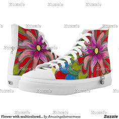 Shop Flower with multicolored petals High-Top sneakers created by Amusingabstractness. Pink Sneakers, Custom Sneakers, High Top Sneakers, Pink Fashion, On Shoes, Converse Chuck Taylor, High Tops, Your Style, Pairs