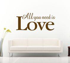 All you need is love! All you need is love. Inspirerande väggtext som är ett måste om du vill fånga gästers uppmärksamhet! Förutom motivet är storleken direkt iögonfallande när du passerar väggdekoren.   Länk till produkt: http://www.feelhome.se/produkt/all-you-need-is-love/    #Homedecoration #art #interior #design #Walldecor #väggdekor #interiordesign #Vardagsrum #Kontor #Modernt #vägg #inredning #inredningstips #heminredning #Kärlek #motivation #citat #alltdubehöver
