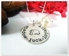 Personalized Elephant Necklace Hand Stamped by CharitableCreations, $42.95 Alex