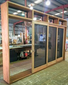 Air flow, security & insect screens are priority considerations for many clients in designing their timber joinery. A perfect solution is sliding glass doors with security screen doors stacking on the outside, & glass louvres fitted to a top-light above // via ALLKIND Joinery - www.Allkind.com.au