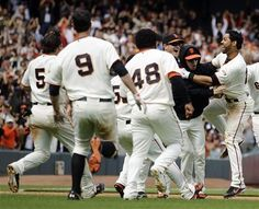 Celebrating a walk-off win courtesy of Angel Pagan's hit to right field (7/1/12 v CIN)