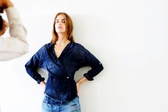 Sexy denim kimono top // NSF Holiday 2015 behind the scenes // photo by Holly Liss
