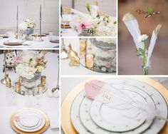 Gorgeous feather, gold, silver and blush pink wedding table decor by Panache in Negaunee, MI.  Flowers from Flower Works and photography from Wren Photography.