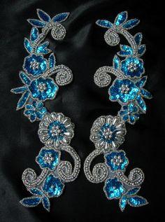LR20-5 Floral Mirror Sequin Bead Applique Aqua Blue - Click Image to Close