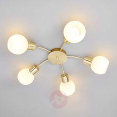 Elaina - LED ceiling light in brass, 5-bulb   Lights.co.uk