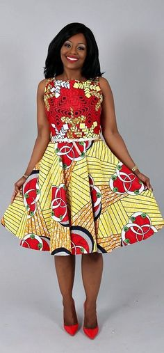 african print dresses African clothing : African print ZOEY red/yellow from authentic wax length dress. The flared dress hits right before the knee making this a perfect trans African Maxi Dresses, African Fashion Ankara, African Inspired Fashion, African Dresses For Women, Ankara Dress, African Print Fashion, Africa Fashion, African Attire, African Wear