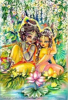 krishna+and+radha | Krishna and Radha relax by a peaceful lotus pond.