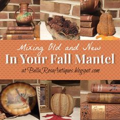 Decorating with Vintage by Bella Rosa Antiques. Visit my Let's Talk Vintage! link party and take a closer look at my Fall mantel #vintage #fallmantel #mantelideas #decoratingwithvintage #bellarosa #bellarosaantiques #manteldecor #mantel #antiquebooks #Roseville #Rosevillepottery