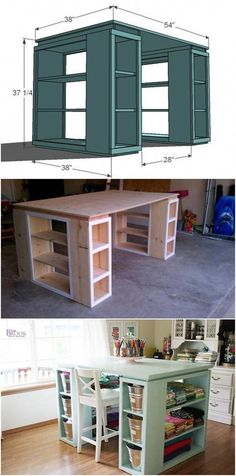Creative Ideas DIY Modern Craft Table: 15 Craft Room Organization Ideas on a Budget are so Easy! Space Crafts, Home Crafts, Craft Space, Small Craft Rooms, Craft Storage Ideas For Small Spaces, Craft Tables With Storage, Furniture Projects, Table Furniture, Furniture Online