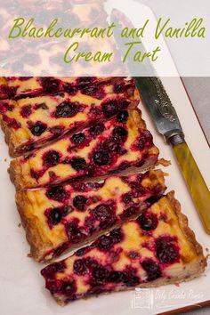 Juicy blackcurrants, baked in a creamy vanilla tart. This Blackcurrant and vanilla cream tart from Only Crumbs Remain is bursting with summer fruit flavour. Easy Tart Recipes, Fruit Recipes, Sweet Recipes, Dessert Recipes, Pie Recipes, Dessert Ideas, Summer Recipes, Fun Desserts, Delicious Desserts