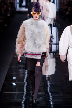 FF (fun fur):  baseball jacket-esque silhouette meets yeti fur-explosion in the most delightful way ...  Karl Lagerfeld for Fendi