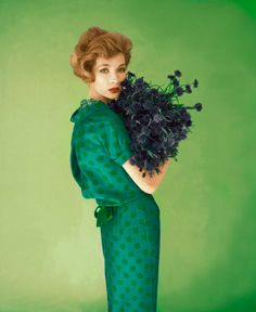 yehyehgrace:  Model in couture silk blue dress with green polka dots by Dan Keller, 1958