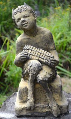 Pan Puck Faunus statue © Pan Greek mythology/pagan statue playing his pipes hand made in frost proof reconstituted stone with an aged sandstone