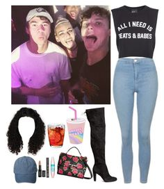 """""""'Emo Nite' at Nice Guy in LA + Cashton"""" by lil-emo-guru ❤ liked on Polyvore featuring Betsey Johnson, Topshop, Private Party, NYX and Maybelline"""