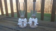rustic wedding glasses Mr and Mrs toasting flutes by PineNsign