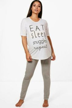 ca3bebb5085b8 Boohoo Maternity Abbit Eat Sleep And Snuggles Grey Size UK12 rrp 18 DH092  LL 02 #