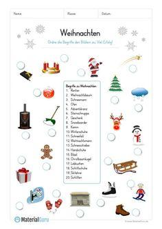 arbeitsblatt: 20 winter-begriffe abbildungen zuordnen | kostenlose arbeitsblätter