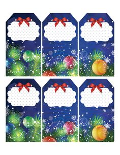 Blue Christmas gift cards or tags, Christmas Sticker, Christmas balls design by PreciousPrintDesigns on Etsy