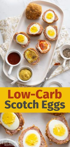 How to make scotch eggs? Our scotch eggs recipe is low carb and keto by using crushed pork rinds for the coating. Perfect for lwo carb keto breakfast recipe Picnic Snacks, Picnic Foods, Eggs Low Carb, Low Carb Keto, Meat Appetizers, Appetizer Recipes, Homemade Scotch Eggs, Pub Food