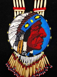 One of a kind beaded pictoral medallion by BeadworkMasterPieces on Etsy