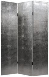 faux crocodile skin in silver on a room divider screen