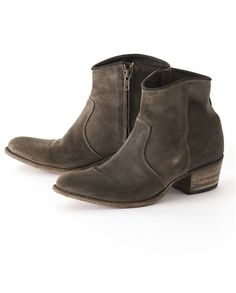 Poetry - Leather Ankle Boot - Very simple styling with a classic cowboy boot stacked heel, these all leather boots are in a soft slate colour that looks great with denim.  100% Leather