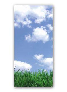 Motivdruck Wolken und Gras Papier