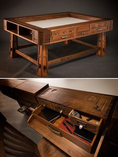 The Perfect Gaming Table Geek Chic Know's What They Are images ideas from Home Table Ideas Board Game Table, Fun Board Games, Game Tables, Diy Games, Tabletop Rpg, Tabletop Games, Dnd Table, Dungeons And Dragons, Game Room