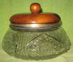 Antique Victorian Cut Crystal Tobacco Jar Brilliant Era w Wooden Lid Late 1800's