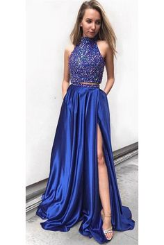 2 Pieces High Neck Beaded Prom Dress Sexy Side Split Graduation Party Dress PD093 Royal Blue Prom Dresses, Semi Formal Dresses, Prom Dresses Two Piece, Prom Dresses For Teens, Big Dresses, Fall Dresses, Dance Dresses, Beaded Prom Dress, Dress Prom