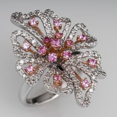 Floral Cocktail Ring Diamond Pink Sapphire