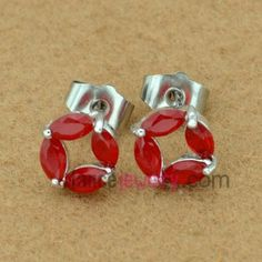 Gorgeous red color zirconia decorated stud earrings