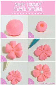 icu ~ Pin on cake decorating ~ Sweets Occasions simple fondant flower pictorial. No cutters necessary! Icing Flowers, Gum Paste Flowers, Fondant Flowers, Sugar Flowers, Fondant Cupcakes, Fun Cupcakes, Fondant Baby, Fondant Cake Decorations, Simple Fondant Cake