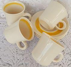 Vintage Franciscan Earthenware Sundance 7 Ounce Cups & Saucer Plates 7 Pieces