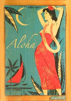 Hawaii Travel Features - A Vintage Aloha Hawaii Travel Poster - See more @gr8traveltips