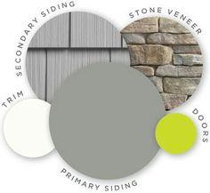 Trio Colors for house No neon green.  Replace door color to cedar with cedar shutters.
