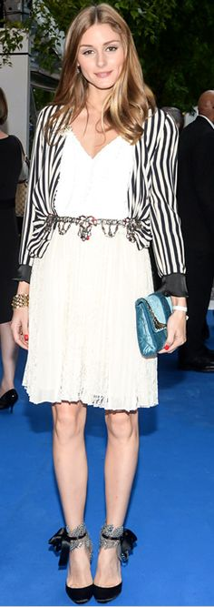 Who made Olivia Palermo's stripe jacket, blue velvet clutch handbag, feather black shoes, nude skirt, and white sequin top?