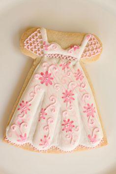 My Little Bakery dress cookie Fancy Cookies, Cut Out Cookies, Iced Cookies, Cute Cookies, Royal Icing Cookies, Cookies Et Biscuits, Cupcake Cookies, Cupcakes, Sugar Cookies
