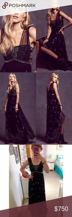 """MAKE OFFERS Free People Twilight Dreams Maxi Dress FP Twilight Dreams maxi dress in black. Tag says size 6 but it was professionally altered to fit a size 2 or 4. Length was also altered. I am 5'4"""" and drags slightly with 3.5"""" heels. No flaws that I can see. Worn one time for prom. It absolutely pains me to sell this dress but I need the money. PLEASE do not buy without discussing with me, I'm not positive that I want to sell it. PLEASE NOTE: the cost is not $750, I expect people to make…"""