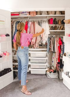 A Mix of Min provides tips on optimizing closet space with The Container Store and their customer Elfa closets. Elfa Closet, Closet Space, Plus Clothing, Clothing Hacks, Container Store, Container Cabin, Cargo Container, Container Design, Container Homes