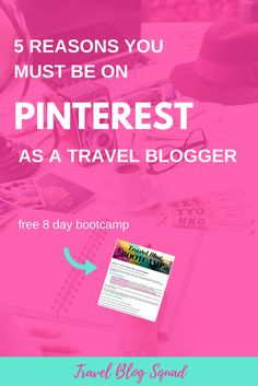 5 Reasons You Must Be On Pinterest As A Travel Blogger. Pinterest can be a huge driver of traffic to your blog, grow your email list and help you monetize. The power of Pinterest is a no brainer. Click here to read more, get your butt onto Pinterest if you aren't already and to join the free 8 day Travel Blog Bootcamp!