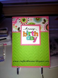 Birthday card made using Close to My Heart Lollydoodle paper pack full instructions on my blog