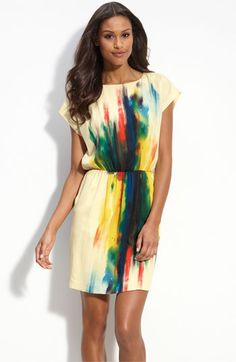 Blurred, bright brushstrokes color a charmeuse dress fashioned with short dolman sleeves and an elasticized waistline. from Nordstorms $87.90