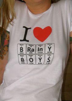 I Love BRAINY BOYS Periodic Table T-Shirt by Periodically Inspired - Women's Medium